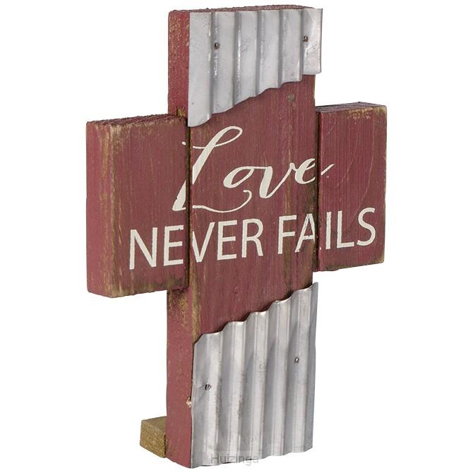 Mini wood/metal cross love never fails