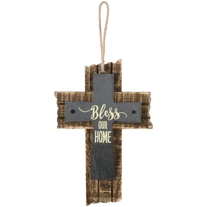 Mini slate cross bless our home