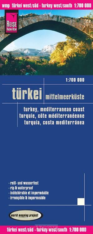 Reise Know-How Landkarte Türkei - Mittelmeerküste 1 : 700 000