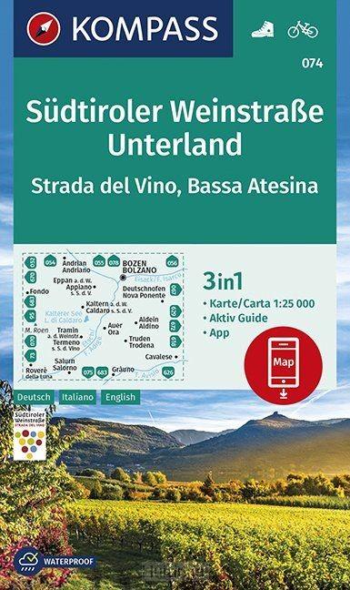 Südtiroler Weinstraße, Unterland, Strada del Vino, Bassa Atesina 1:25 000