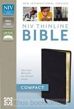 NIV thinline compact Black bonded leathe