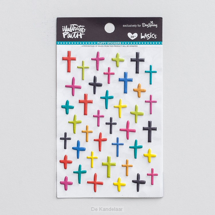 Mixed color crosses - Puffy stickers