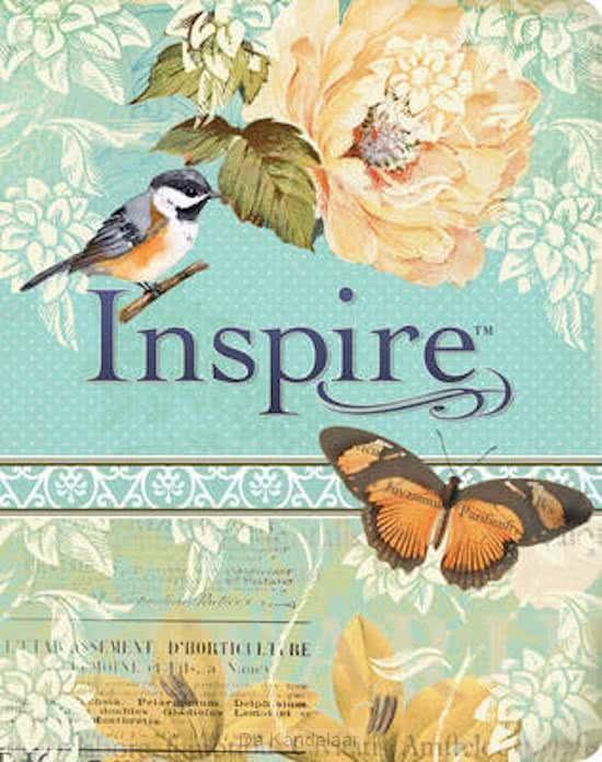 NLT inspire bible leatherlike blue/cre