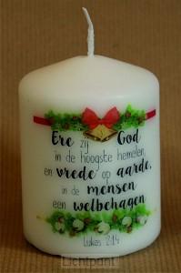 Kerstkaars klein 5.7cm Ere zij God