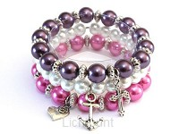 Armband Abigail paars roze wit