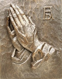 Wandbord 2102 bidd handen brons groot