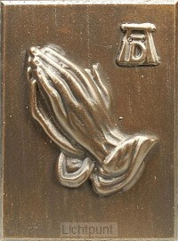 Wandbord 2202 biddend handen brons klein