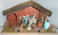 Kerststal 025 hout met 9 beeldjes 35cm