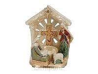 Kerststal aardewerk met theelichthouder