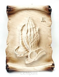 Wandvoorstelling biddende handen