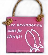 Wandbord roze gef. met je doop 19,5x19,5