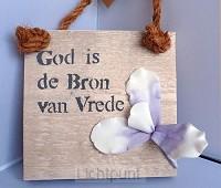 Wandbord God is de bron van vrede