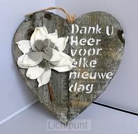 Wandbord hart grijs Dank u Heer voor