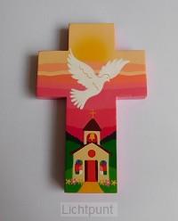 Kruisje hout roze met kerkje en duif