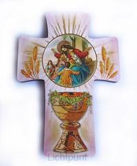Kruisje communie licht rose