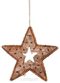 Kerstster berkenhout set 5 stuks