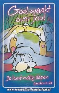 Minikaart bijbeltje God waakt over jou