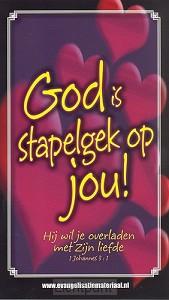 Minikaart bijbeltje God is stapelgek op