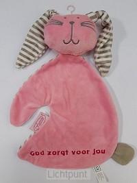 Konijn tutdoek God zorgt roze