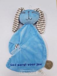 Konijn tutdoek God zorgt blauw