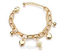 Wrist bracelet cross/hearts gold