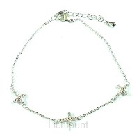Wrist bracelet 3 crosses silver