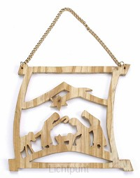 Kerstdeco hanger olijfhout 10.5x10cm