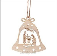 Wooden ornament holy family in bell