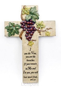 Kruis steen 25cm I am the vine