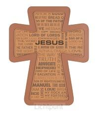 Kruis hang names of Jesus faux leather