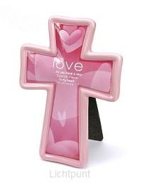 Kruis keramiek love pink 17cm