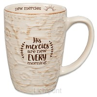 Sculpted mug count your blessings blue