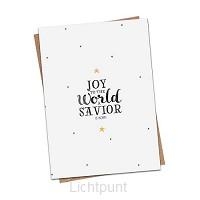 Kerstkaart Joy to the world a Savior is