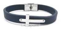 Leather bracelet cross blue