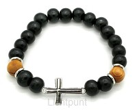 Wooden bead bracelet with cross