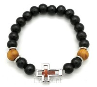 Wooden bead bracelet with open cross