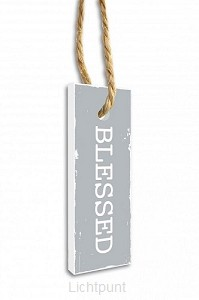 Label blessed grijs 15.5x5.5cm