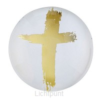 Magnet Round Gold Cross (2)