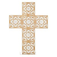 Wall Cross 40,6cm Carved Wood