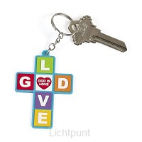 Keychain cross God is love set6