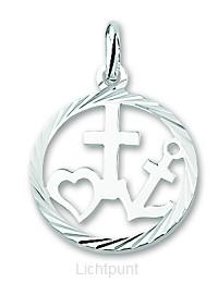 Silver pendant circle faith hope love