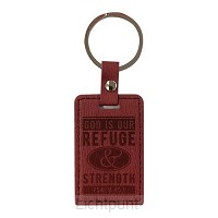 Leather Keychain God is our refuge