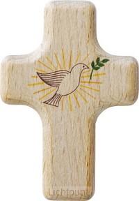 Kruis hout 6x4cm duif