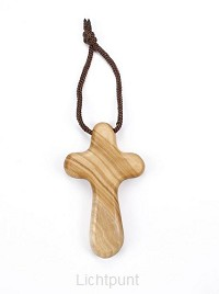Kruis met koord olijfhout 9cm