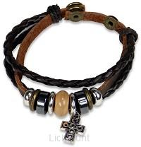Armband leder kruis en kralen bruin