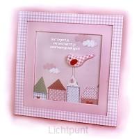 Wandbord lijstje roze 24x42cm