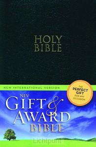 Gift & award bible NIV black leather lik