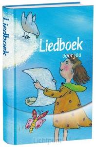 Liedboek kind blauw m tekening witsnede