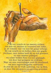 Ansichtkaart jesaja 53:3-5