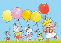 Ansichtkaart 15x10,5 bobbi met ballonnen